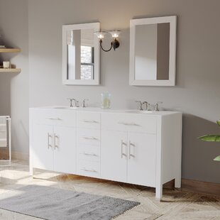 Elmwood 72 Double Bathroom Vanity Set with Mirror by Latitude Run