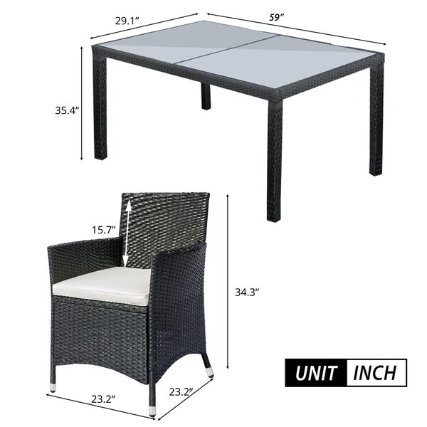 Kloei Rectangular 6 - Person 59'' Long Dining Set with Cushions