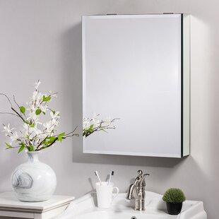 Emille Recessed or Surface Mount Frameless 1 Door Medicine Cabinet with 2 Adjustable Shelves