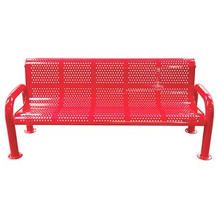 U-Leg Perforated Metal Park Bench