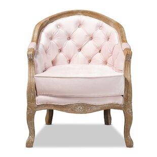 Elliana Traditional French Provincial Velvet Upholstered Armchair