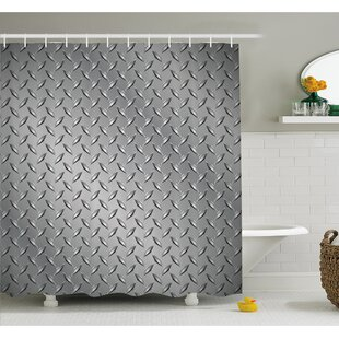 Cross Wire Fence Netting Display with Diamond Plate Effects Chrome Kitsch Motif Shower Curtain Set