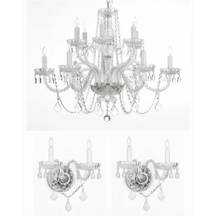Chandelier wall sconce wayfair anthony 3 piece crystal chandelier and wall sconces lighting set aloadofball Image collections