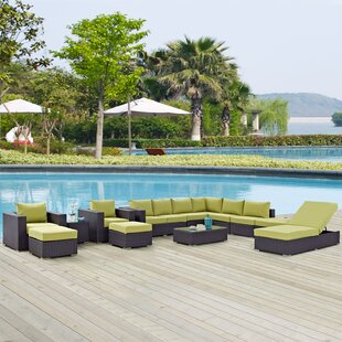 Latitude Run Ryele 12 Piece Rattan Sectional Set with Cushions