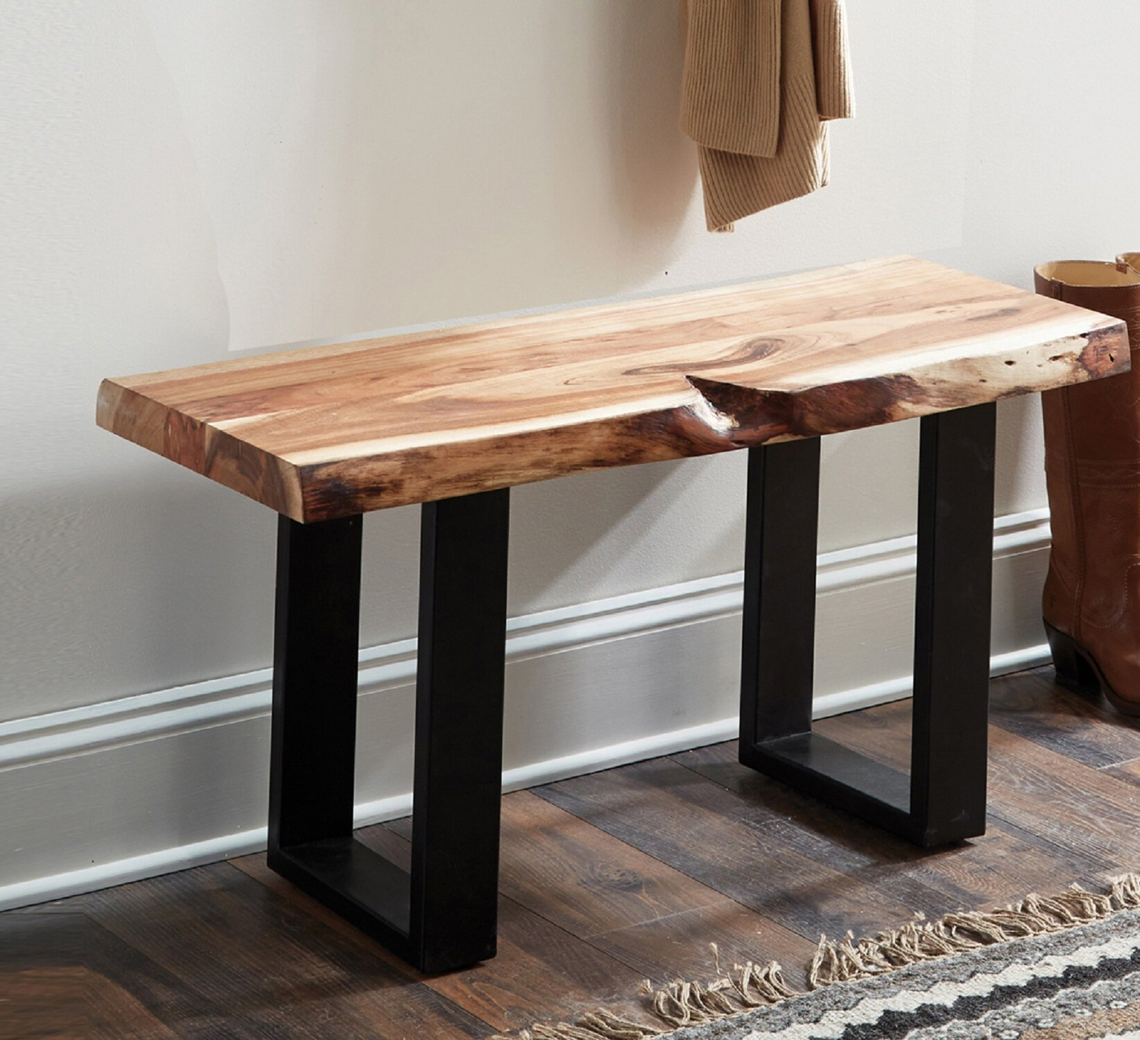 Picture of: Joss Main Bexton Live Edge Wood Two Seat Bench Reviews Wayfair