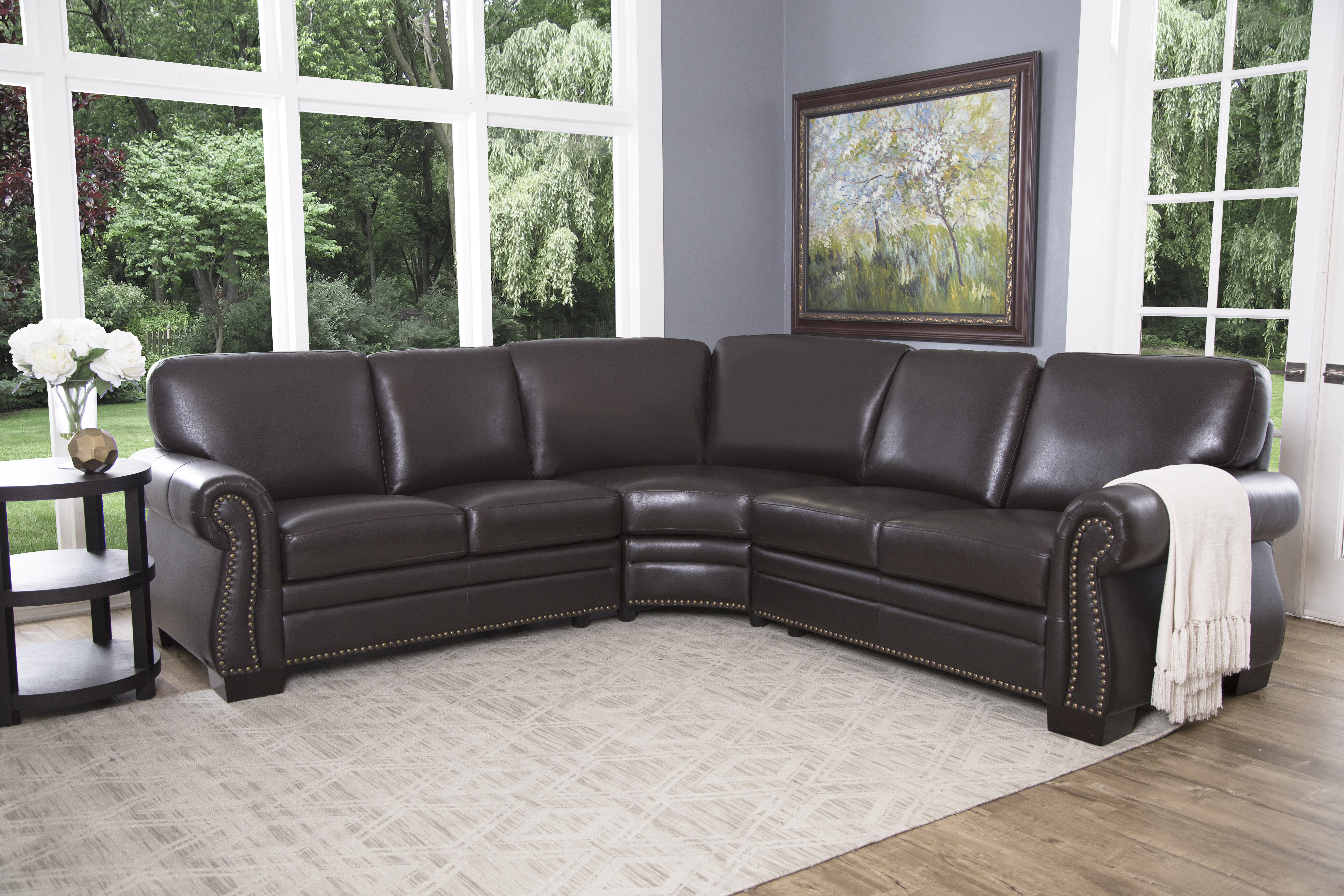 Darby Home Co Barnabas Symmetrical Leather Sectional ...