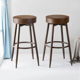 Barton Swivel Adjustable Height Bar Stool (Set of 2) by Foundry Select