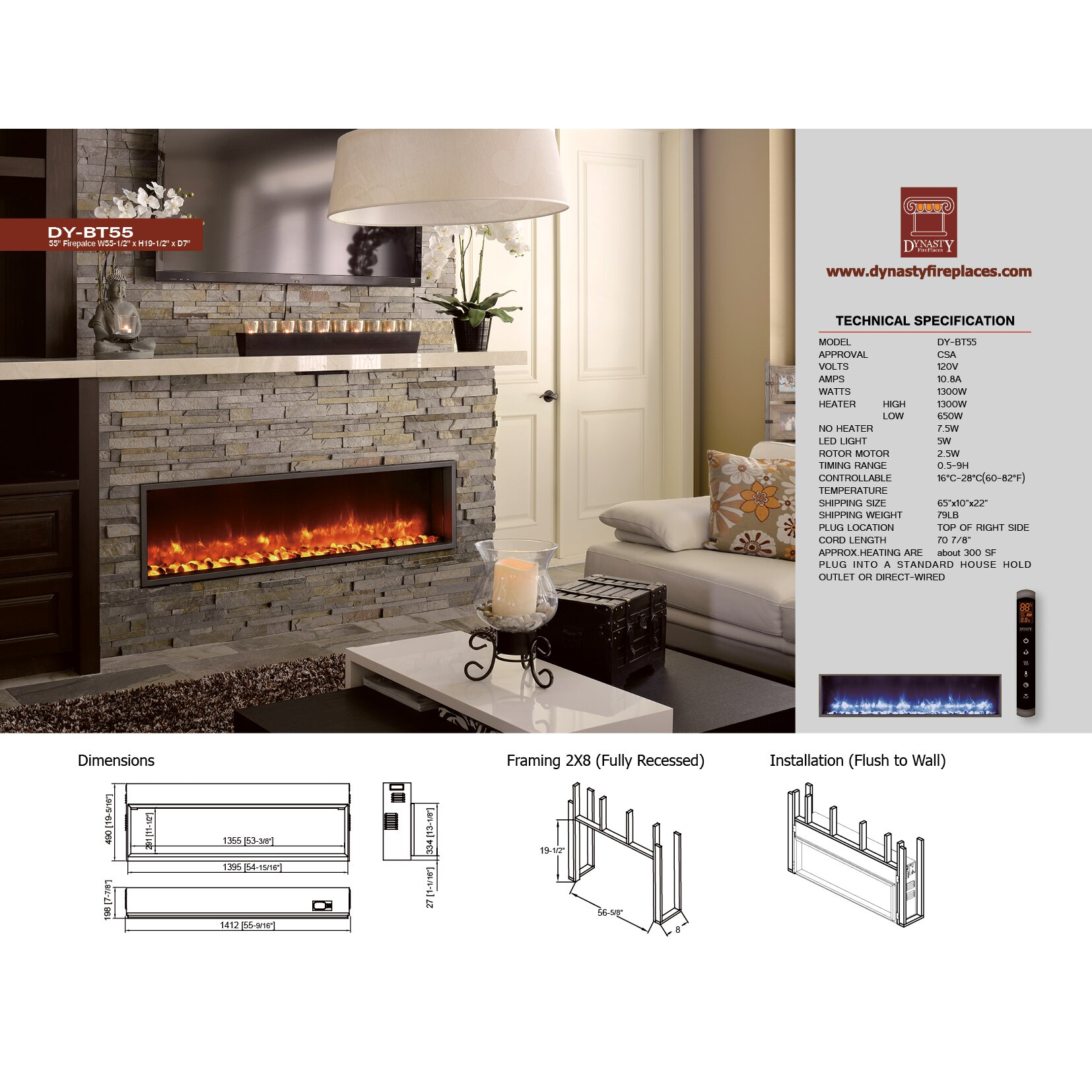 Dynasty 55 Quot Built In Led Wall Mount Electric Fireplace