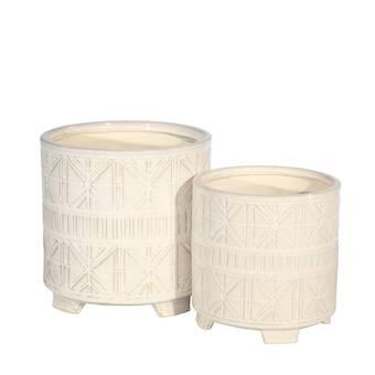 Joss Main Girdler 3 Piece Ceramic Pot Planter Set Reviews Wayfair