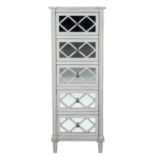 Lawler Mirrored Pinewood 5 Drawer Chest