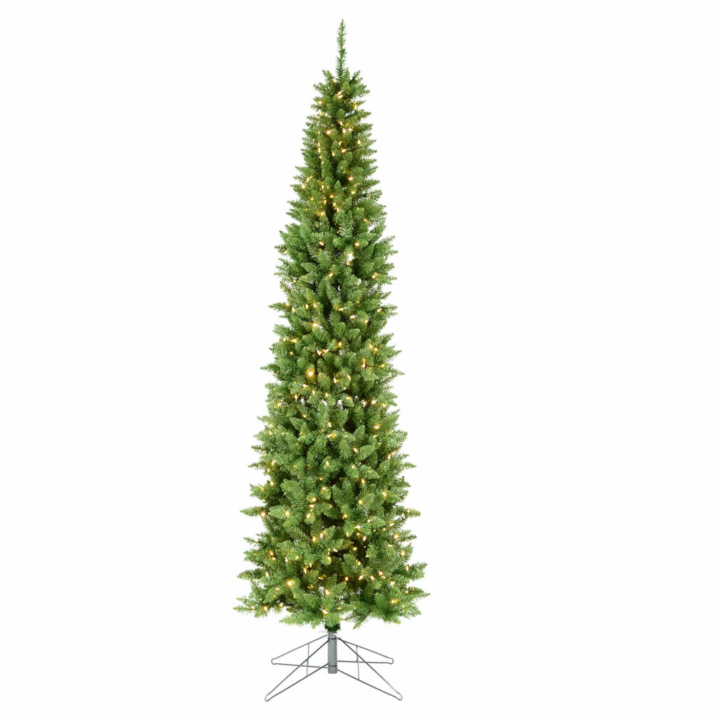 Pencil Christmas Tree.Dursley Pencil 7ft Green Pine Artificial Christmas Tree With Coloured And White Lights With Stand