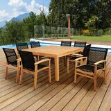 Medrano Sunset View 9 Piece Teak Dining Set