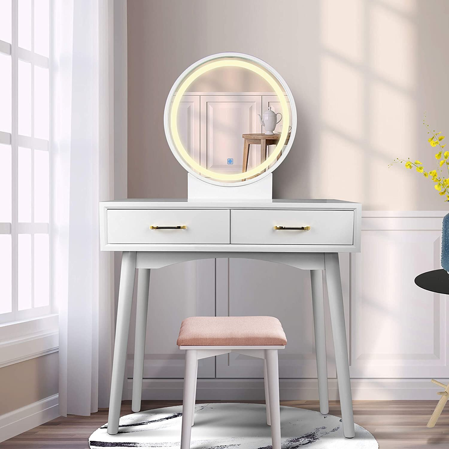 Dressing Table With Led Lights Mirror Stools Not Included White Vanity Makeup Table With Drawers For Bedroom Furniture Dressing Tables