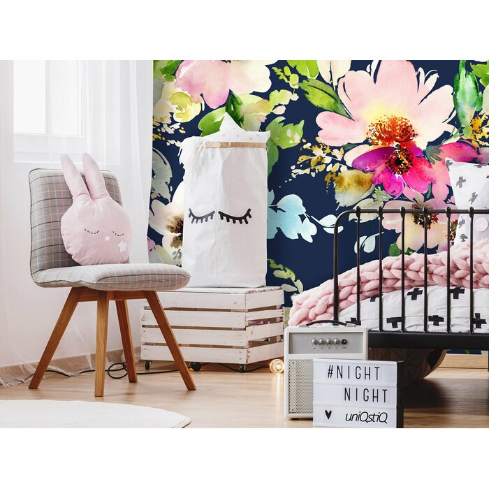 Mayna Removable Blossoms Watercolor 8 33 L X 100 W Peel And Stick Wallpaper Roll