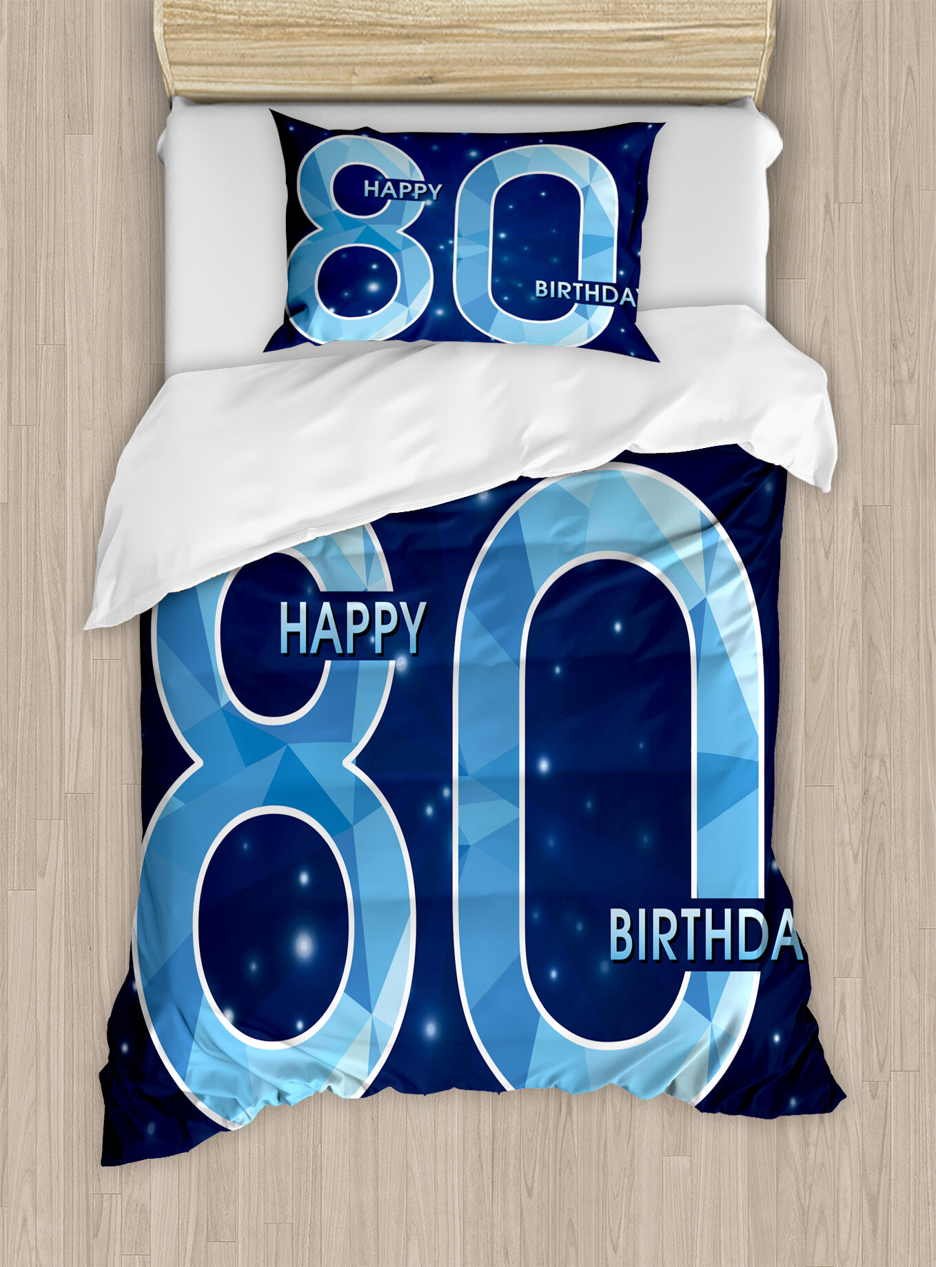 Ambesonne 80th Birthday Decorations Diamond Age 80 Happy Party Theme With Stars Duvet Cover Set