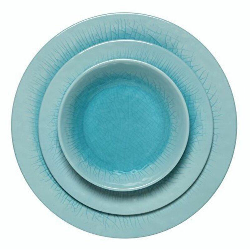 Melange 18 Piece Melamine Dinnerware Set Le Collection Shatter Proof And Chip Resistant Plates Bowls Color Blue Dinner Plate