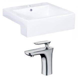 Buy clear Xena Farmhouse Semi-Recessed Ceramic Rectangular Vessel Bathroom Sink with Faucet and Overflow ByRoyal Purple Bath Kitchen