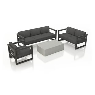 Remi 4 Piece Sofa Seating Group with Sunbrella Cushions