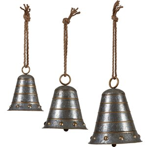 3 Piece Metal Bell Hanging Set