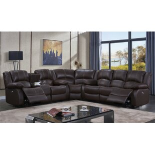 Darby Home Co Raylee Leather Reversible Reclining Sectional