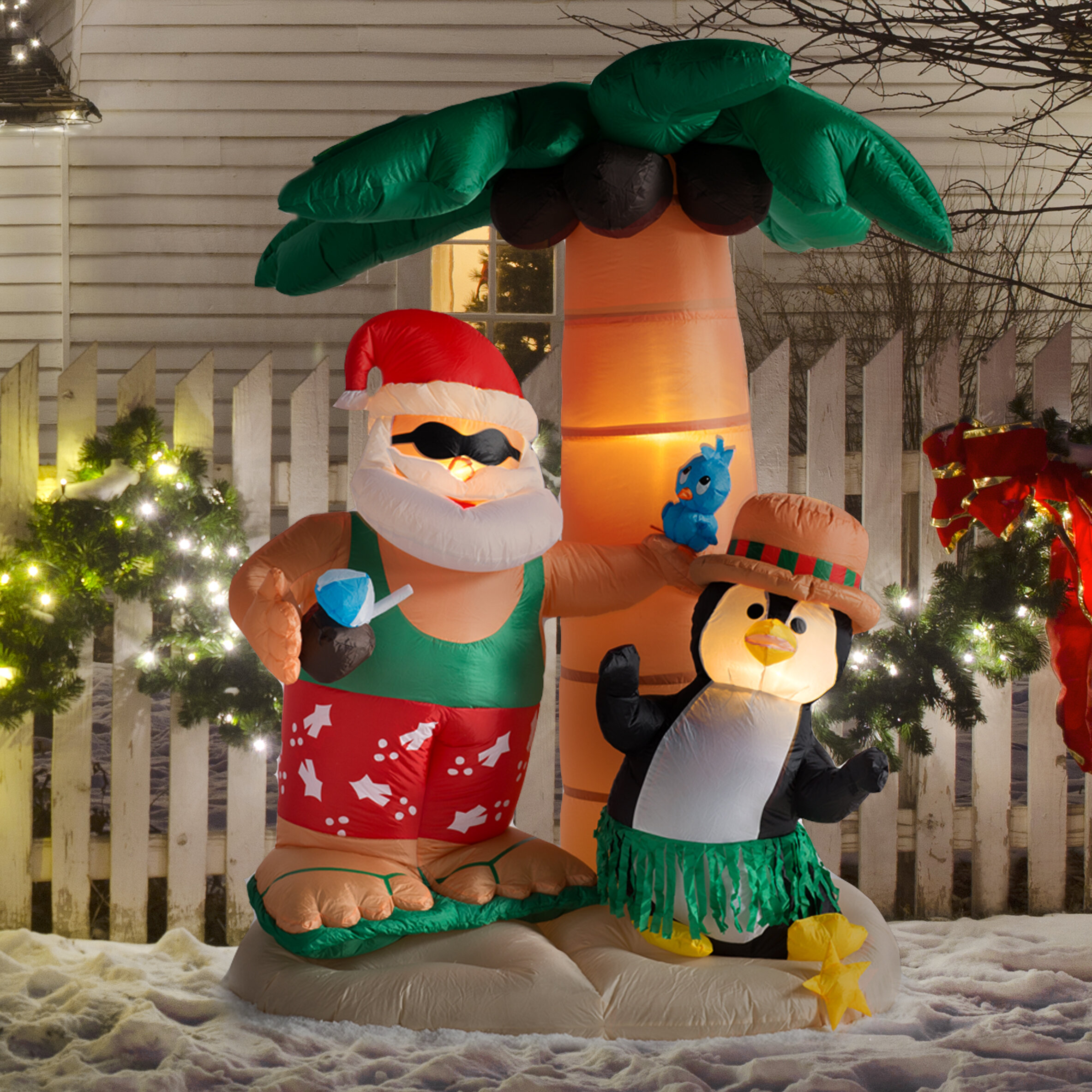 Christmas Inflatable.Christmas Inflatable Santa Claus On Vacation Decoration