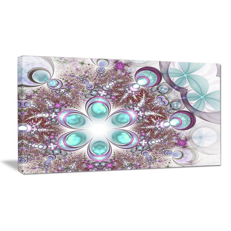 Designart Fractal Flower Of Blue Graphic Art On Wrapped Canvas Wayfair