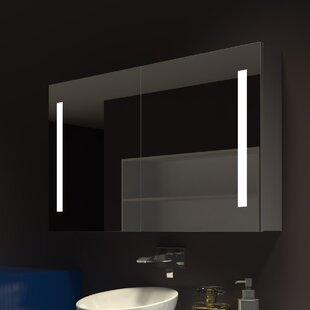 Lency 48 x 28 Surface Mount Frameless Medicine Cabinet with 3 Shelves and LED Lighting by Orren Ellis