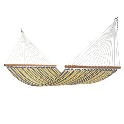 Rosamond Large Blue And Yellow Stripe Quilted Hammock by Highland Dunes Today Only Sale