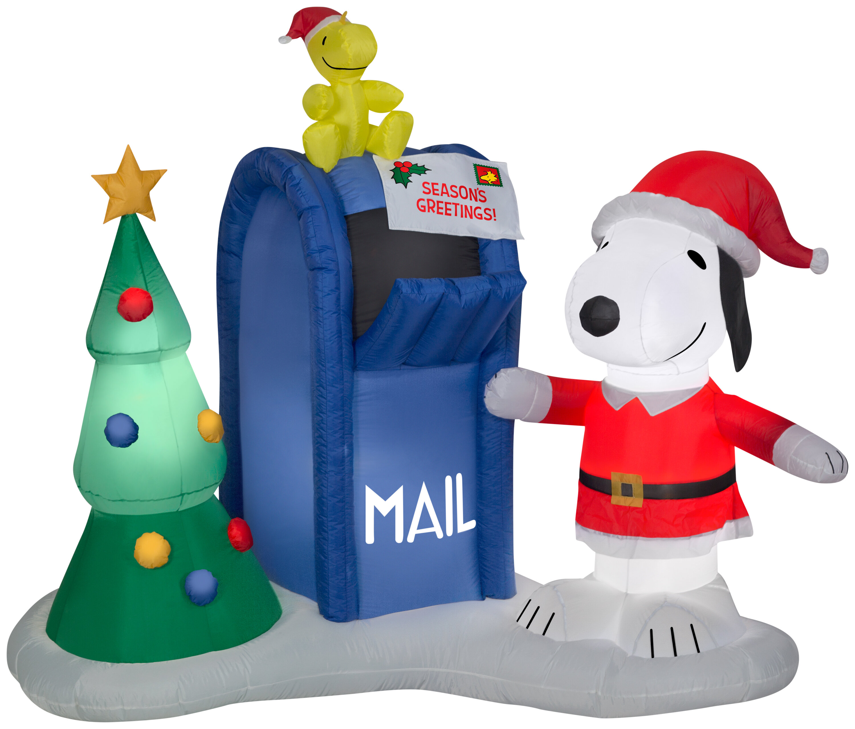 Snoopy and Woodstock with Mailbox LG Scene Peanuts Inflatable