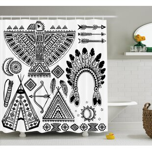 Glenda Tribal Native American Feather Head Band Indian Teepee Tent Bow and Arrow Print Single Shower Curtain