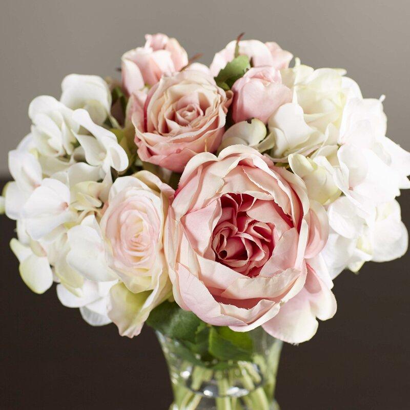 Pink Garden Rose And Hydrangea Bouquet one allium way faux rose and hydrangea bouquet in pedestal glass