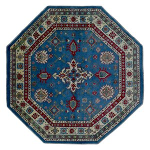 One-of-a-Kind  Roslyn Oriental Hand Woven Wool Blue/Red Area Rug