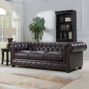 Tanisha Leather Chesterfield Sofa By Darby Home Co
