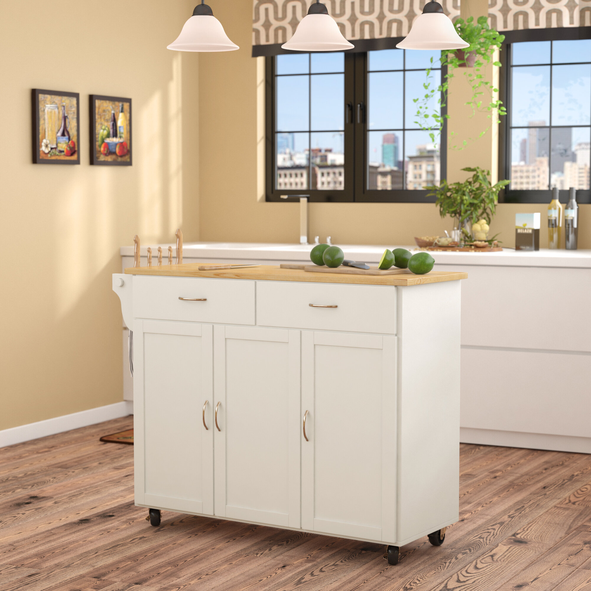 Alcott Hill Sayers Kitchen Island With Wood Top Reviews Wayfair