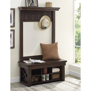 gladstone wood veneer entryway hall tree with storage bench