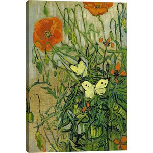 'Butterflies and Poppies' by Vincent van Gogh Graphic Art Print