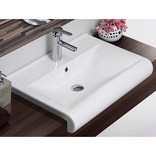 Ceramic Rectangular Drop-In Bathroom Sink with Overflow ByCeraStyle by Nameeks