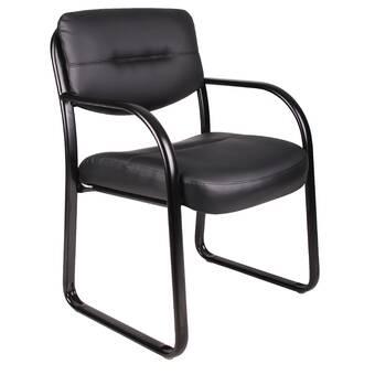 Orren Ellis Ditlev Leather Guest Chair Metal Wayfair
