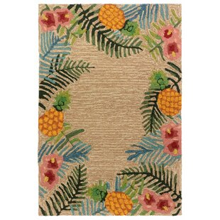 Demirhan Tropical Hand-Hooked Ivory/Green Indoor/Outdoor Area Rug