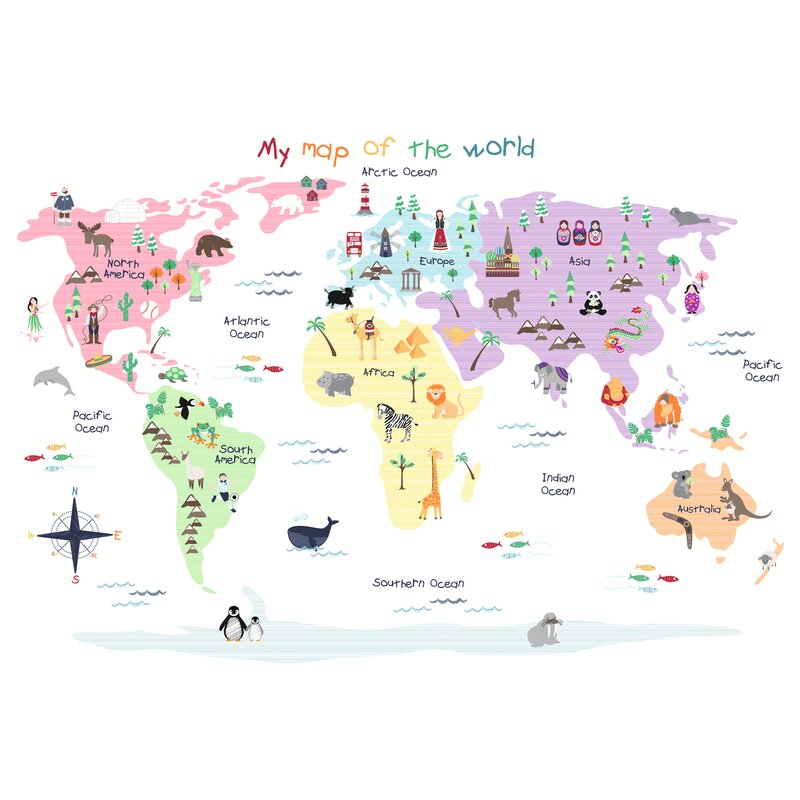 Map Of The World Wall Decal Part 78