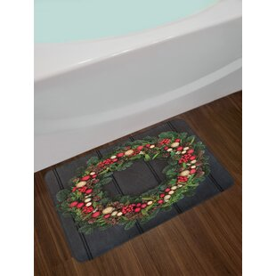 Christmas Wreath Design Bath Rug