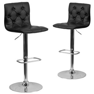 Wrought Studio Makena Adjustable Height Swivel Bar Stool (Set of 2)
