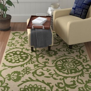 Read Reviews Aylor Hand-Tufted Green/Off-White Area Rug By Winston Porter