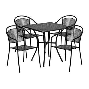 Luciana Outdoor Steel 5 Piece Dining Set