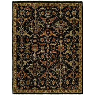 Hermon Hand Knotted Wool Black Area Rug By Fleur De Lis Living