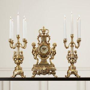 3 Piece Grand Clock and Candelabra Set