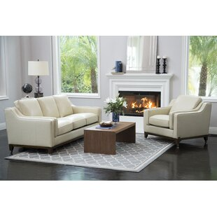 Jacob Cream Leather Sofa and Arm Chair Set