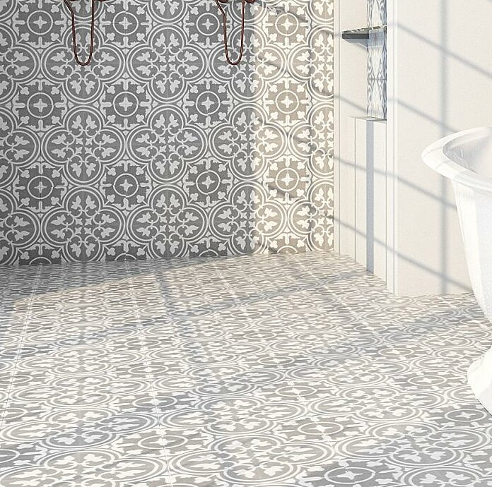 Rustico Tile Stone 8 X 8 Cement Field Tile In Graywhite