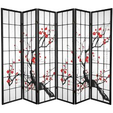 70.25 x 85 Bamboo Blossom 6 Panel Room Divider by Oriental Furniture