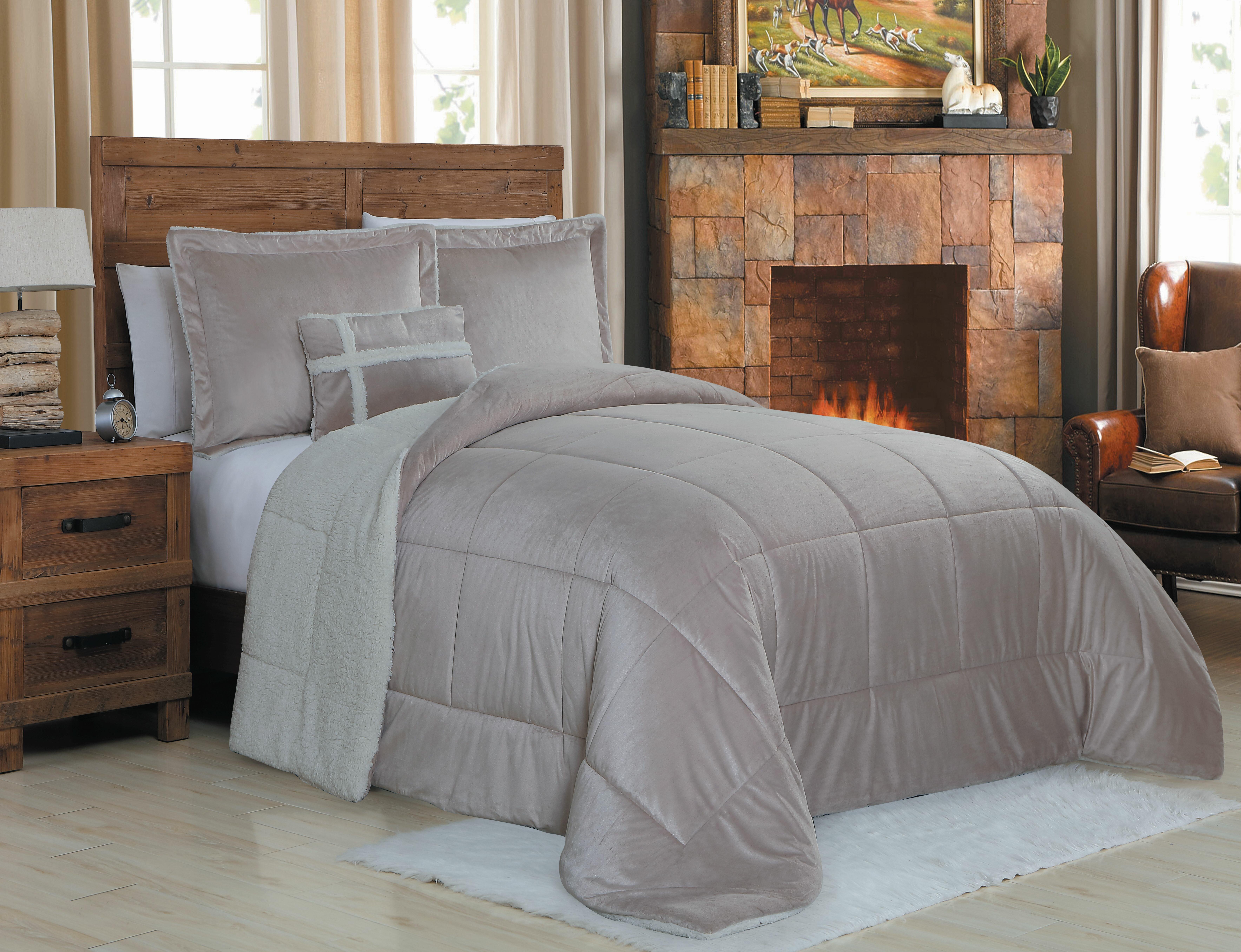 pin dakota king comforter piece set california microsuede black gray
